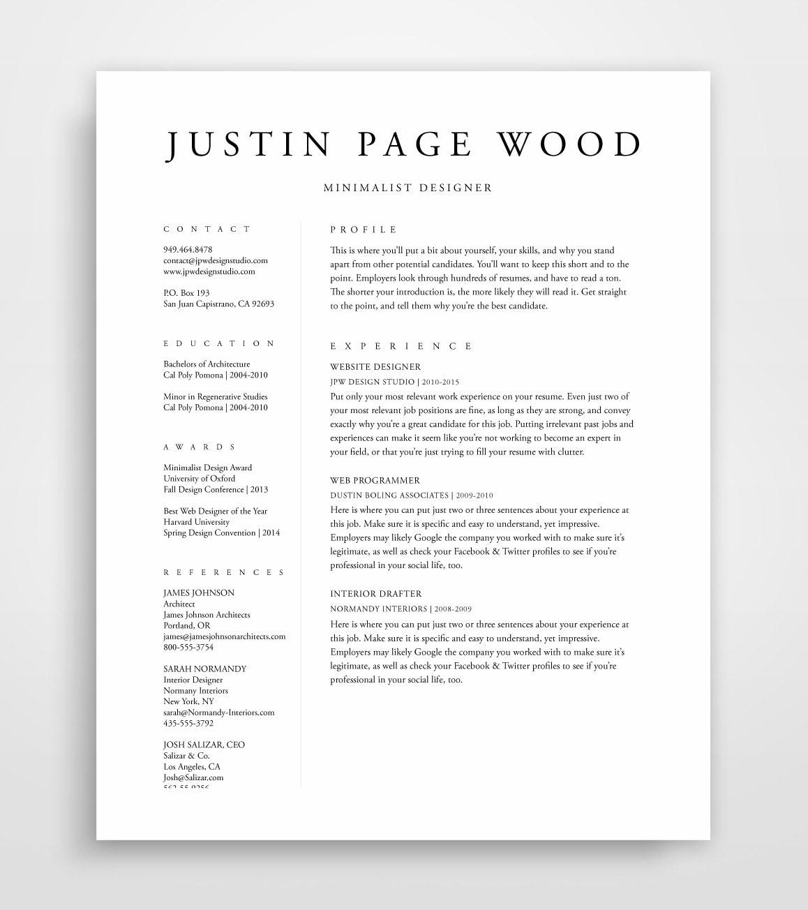 Resume Template Resume Professional Resume Template CV   Etsy