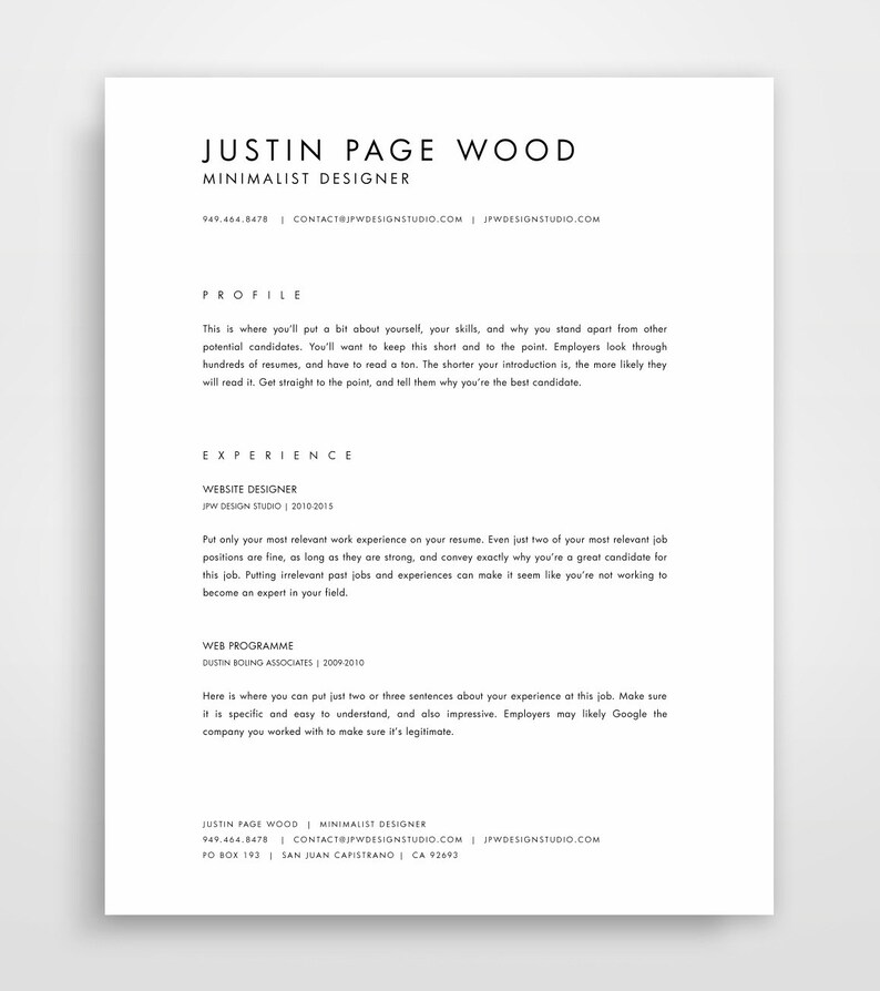 CV Template Simple Resume Template Professional Resume | Etsy