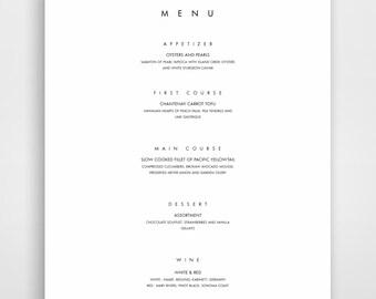 Menu Template, Printable Menu, Modern Menu, Minimalist Menu Instant Download, Menu Design, Elegant Menu Templates, Menu Designs
