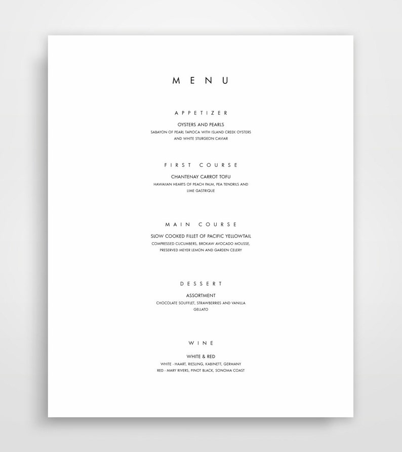 Menu Template Printable Menu Modern Menu Minimalist Menu Etsy