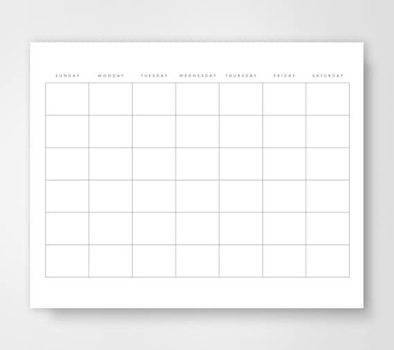 Print Blank Calendar.Blank Calendar Calendar Printable Simple Calendar Journal Calendar Dairy Calendar Simple Day Planner Minimalist Printable Blank