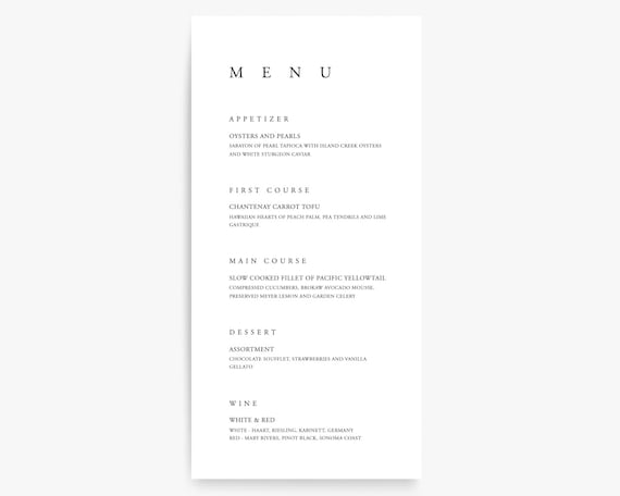 Wedding Menu Template Printable Menu Menu Cards Menu Etsy