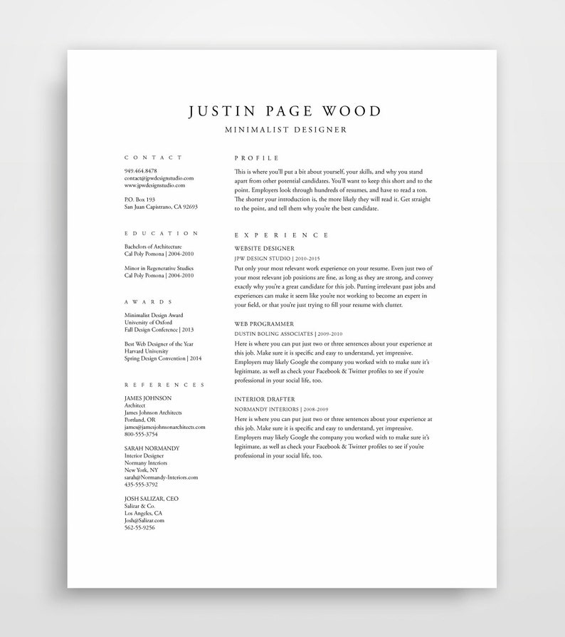 Traditional Resume Template Elegant Resume Classic Resume | Etsy