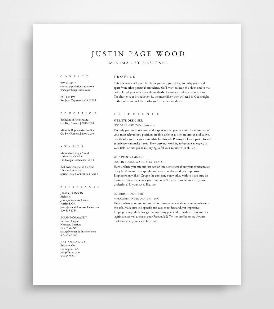 Traditional Resume Template, Elegant Resume, Classic Resume, Traditional  Resume, Professional Template, Clean Resume Design, Elegant Resume