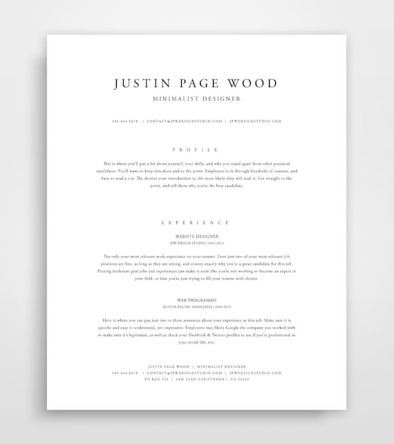 Classic Resume Resume Template Instant Download Resume and | Etsy