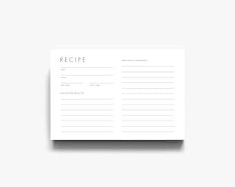 Modern Recipe Card, Downloadable Recipe Card, Printable Recipe Cards, Card Recipe, Recipe Cards Printable, Recipe Card Template