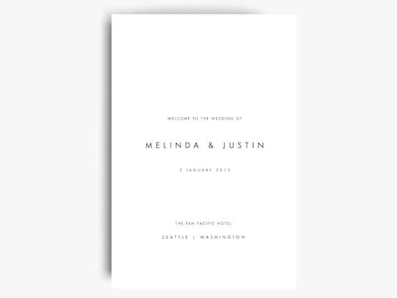 folded wedding program template wedding program booklet etsy