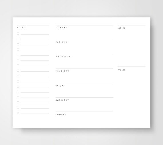 weekly planner to do list weekly calendar planners etsy