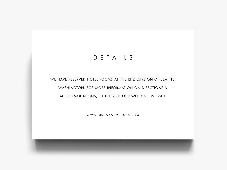Wedding Details Card Details Card Wedding Details   Etsy