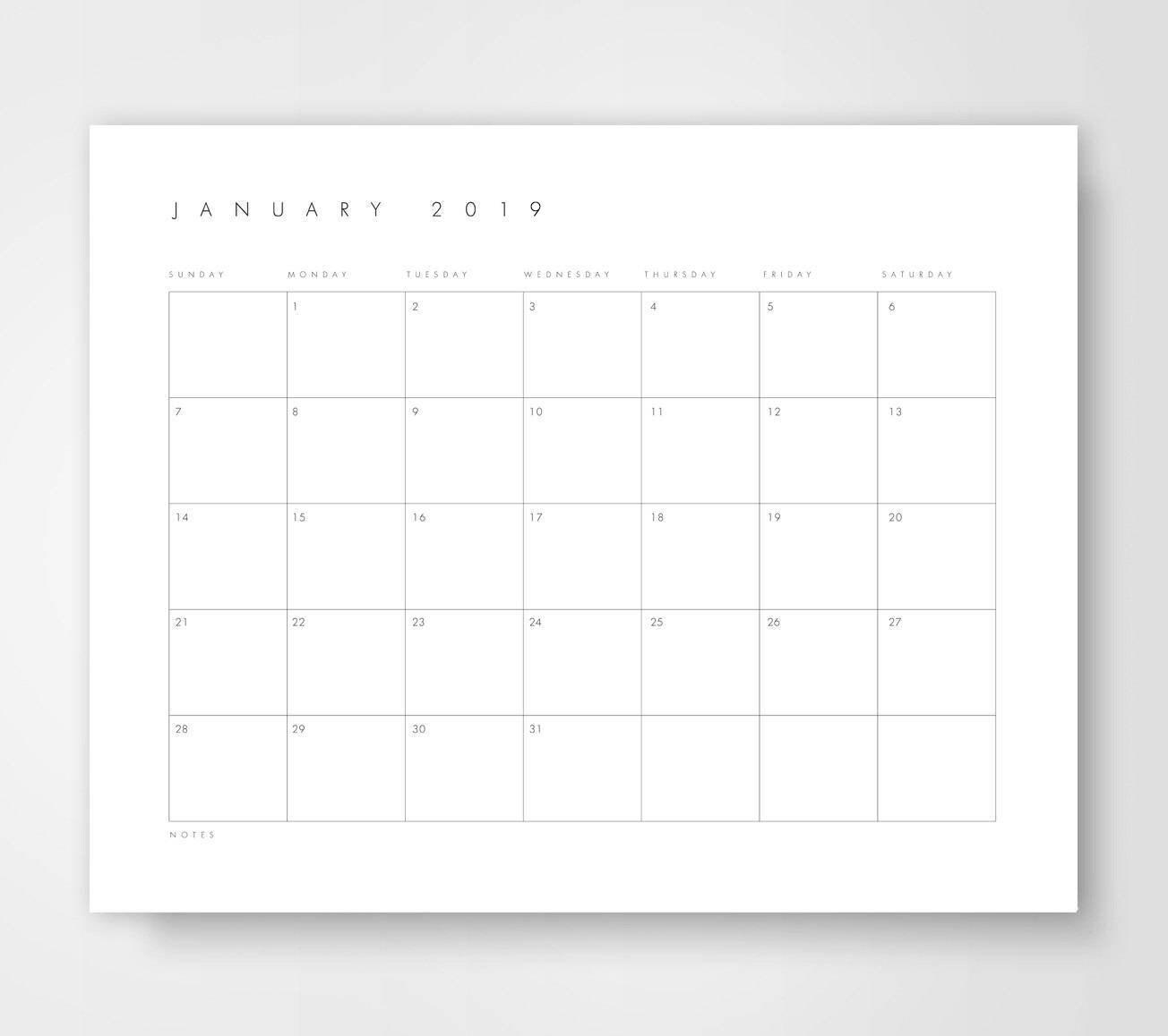 Large Desk Calendar, 2018 2019 Calendar, Printable Calendar, Landscape  Calendar, Wall Calendar, Calendar Printable, 2019, Printable Planner