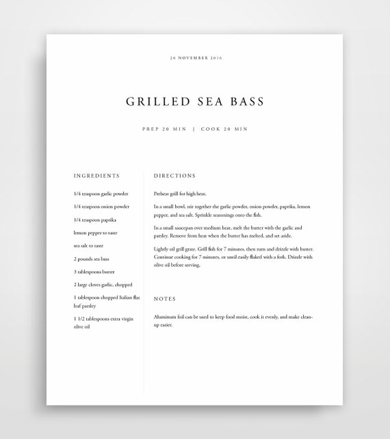 Recipe Binder Book Template