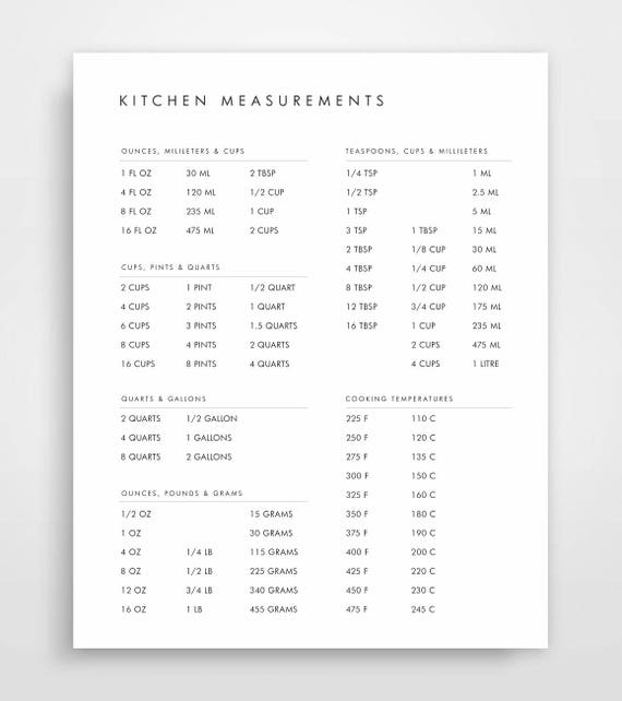Kitchen Conversion Chart Conversion Chart Baking Conversion Etsy