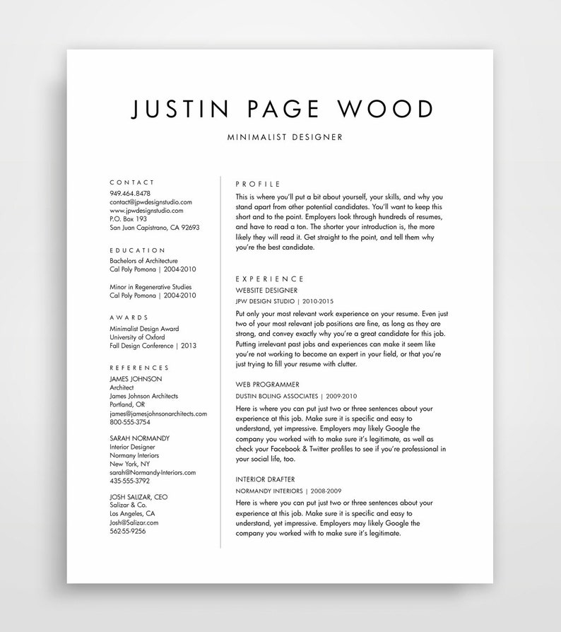 Simple Resume Template Clean