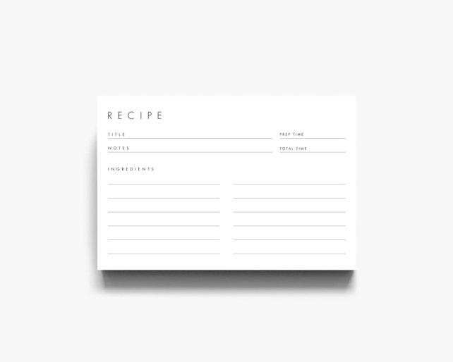 recipe cards 4x6 3x5 recipe cards recipe card 3x5 simple etsy