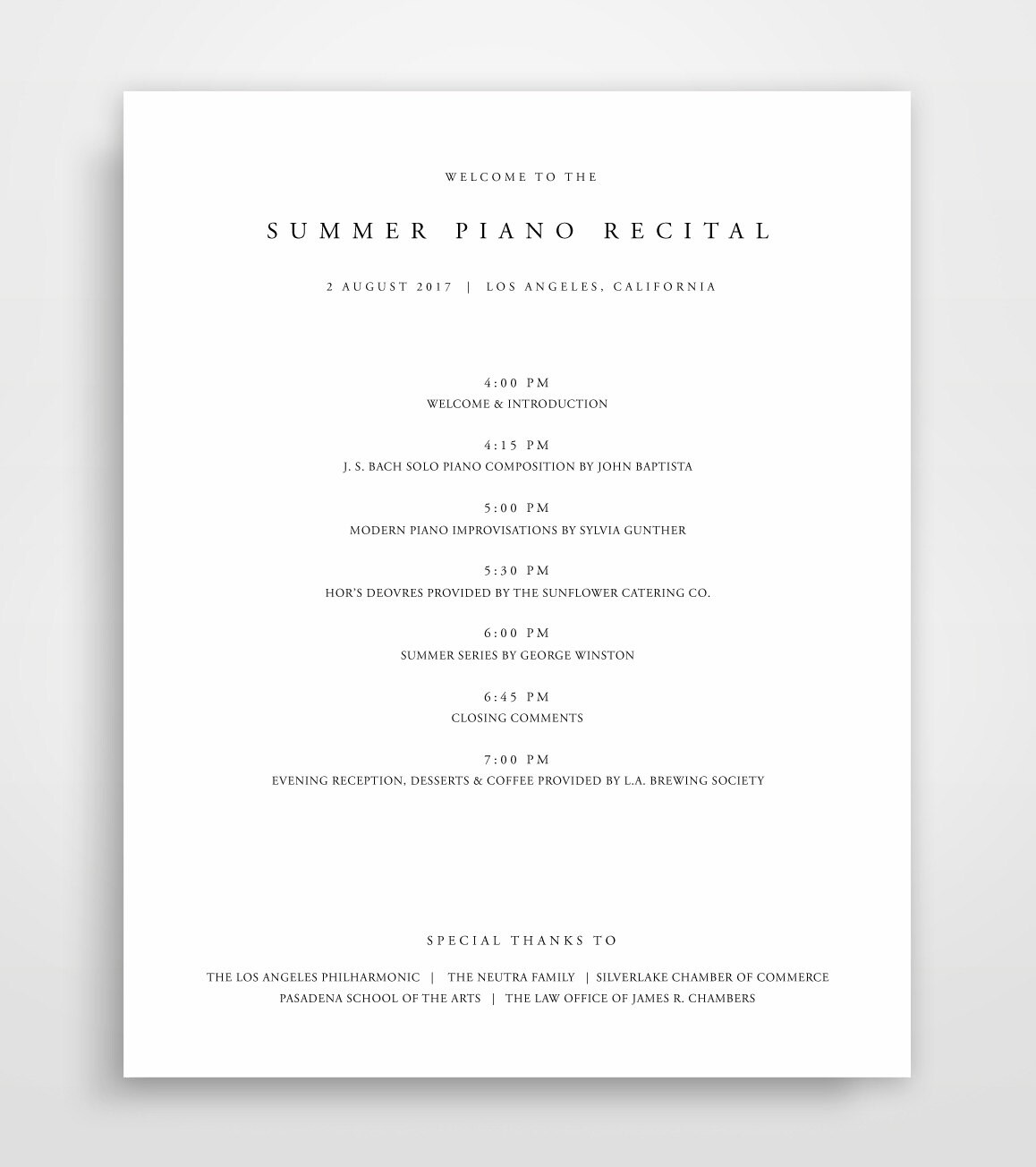 Event Program Template | Event Program Template Program Template Event Program Event Etsy