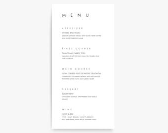 Modern Menu Cards, Modern Wedding Menu Card, Menu Card Templates, Modern Wedding Card, Dinner Menu, Dinner Party, Menu Card Template