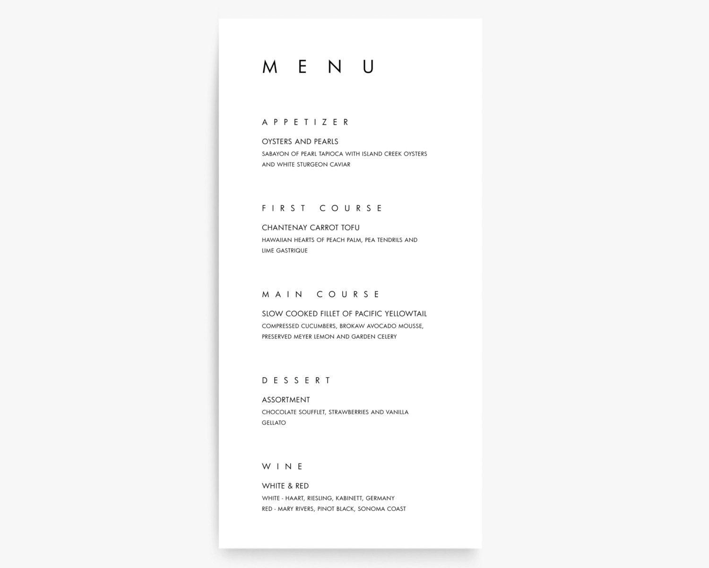 modern menu cards modern wedding menu card menu card | etsy