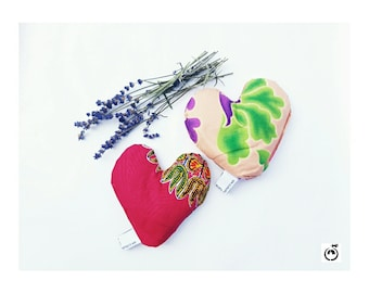 Lavender sachet - Two Hearts as One Gift set - Pink Limited edition  Lavender filled sachet in African fabrics Lavender heart Heart sachet