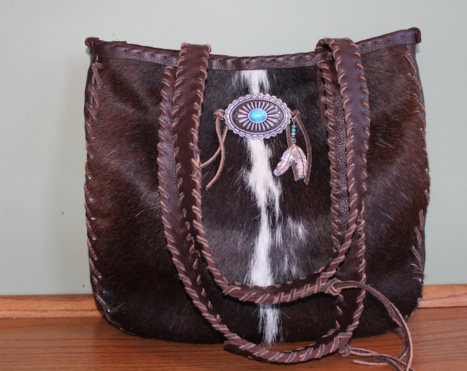 Cowhide Purse with Turquoise Concho