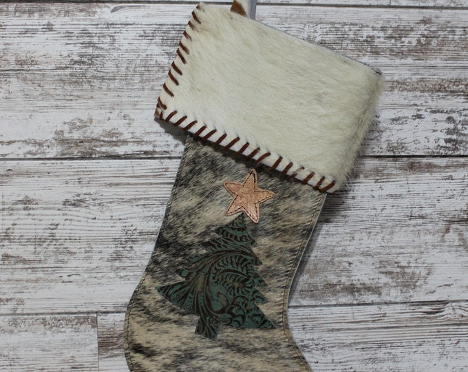 Christmas Stocking made from Exotic Cowhide
