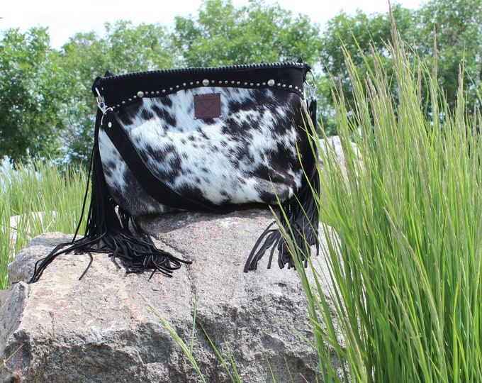 Cowhide Shoulder bag with black leather