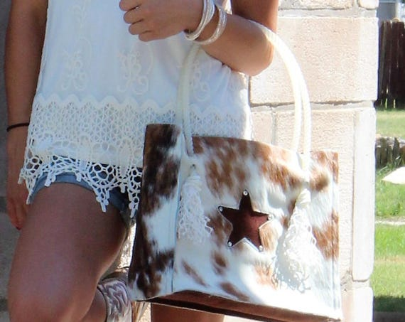 Cowhide Purse with Rope Handles
