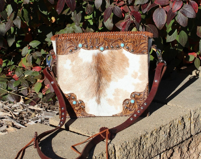 Cowhide with Western Tooled embossed leather Crossbody Purse