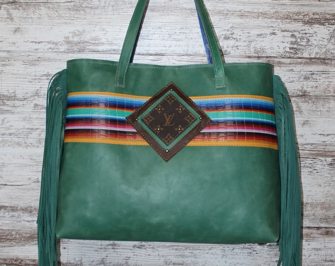 Turquoise Leather with Serape Print Leather Tote