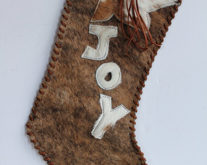 Christmas Stocking made from a light Brindle Cowhide