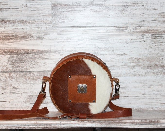 Cowhide Canteen Purse with Bronc Rider Concho