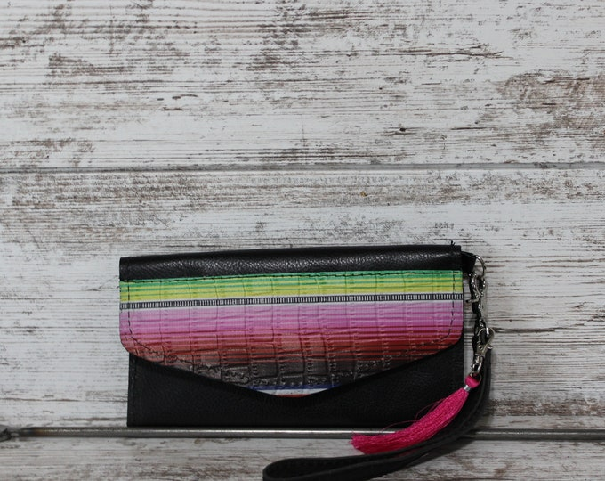 Serape Print and Black Leather  Wallet