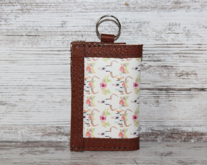Leather Card Holder with Key Ring