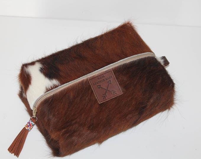 Comestic Bag in Long Hair Cowhide