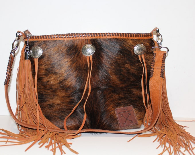 Cowhide Brindle Handbag with fringe