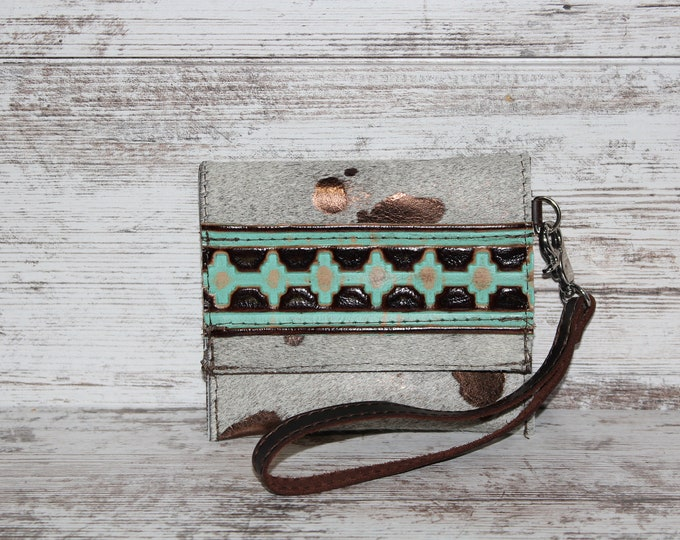 Wristlet Card Holder made from Exotic Cowhide with Metallic Copper finish