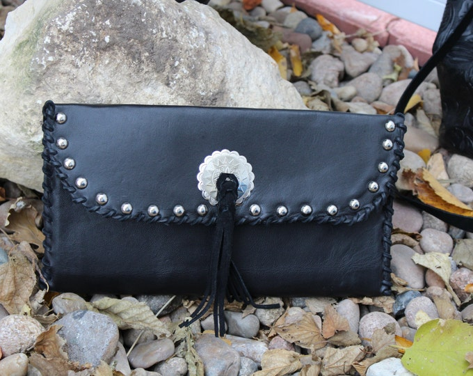 Black Italian Leather Clutch with Concho