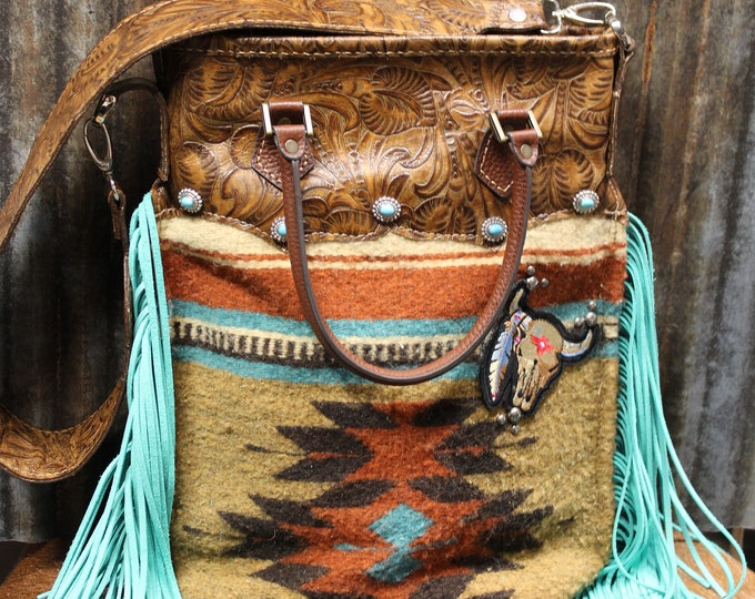 Woven Wool Textile with Navajo Print shoulder Bag