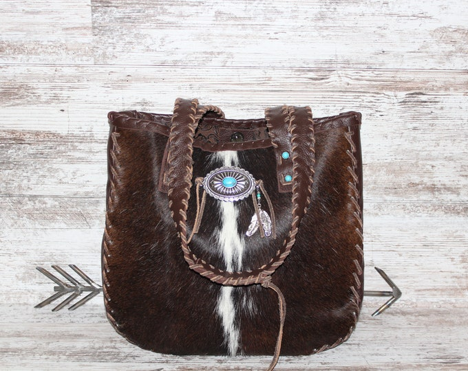 Cowhide and Italian Leather Shoulder Bag