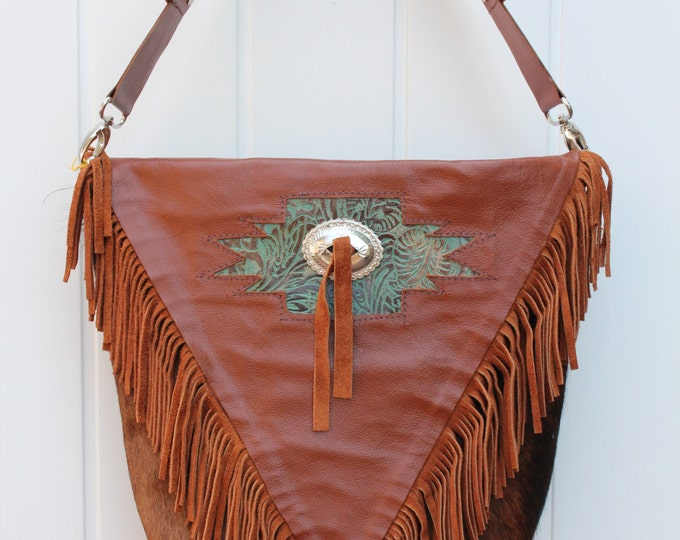Brindle Cowhide Purse with Fringe