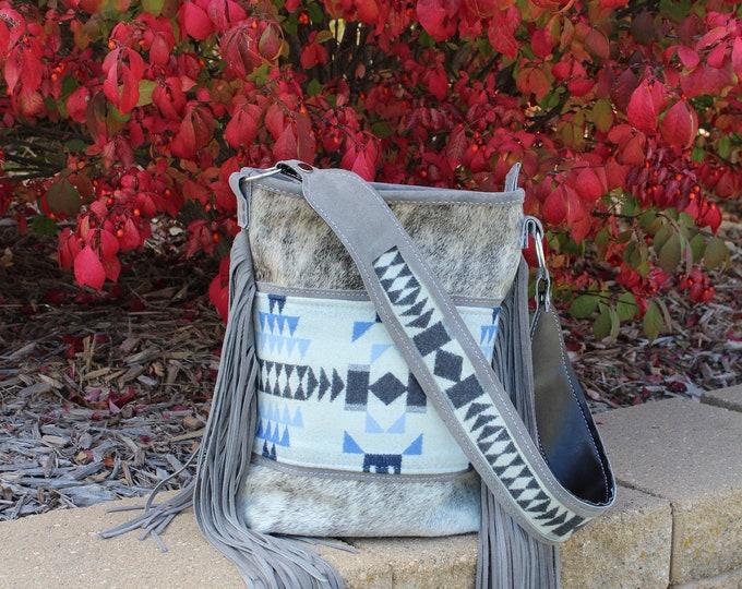 Cowhide and Pendleton Wool shoulder bag