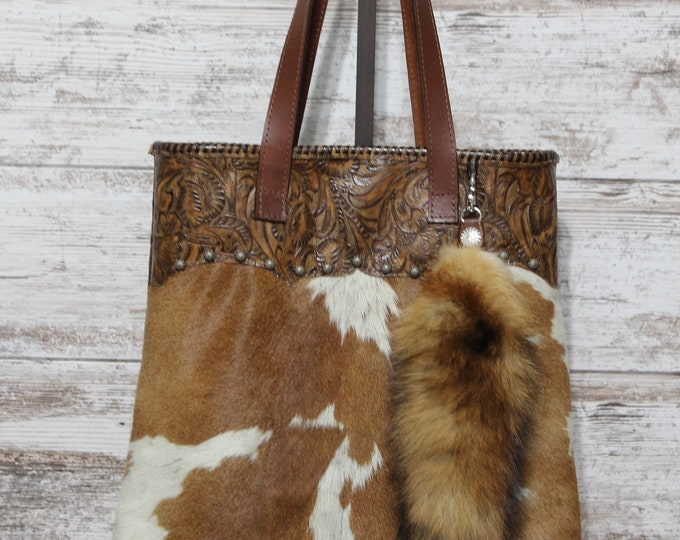 Cowhide and Western Embossed leather Tote with Red Fox Tail keyring