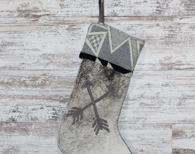 Christmas Stocking made from Cowhide and Pendleton Wool