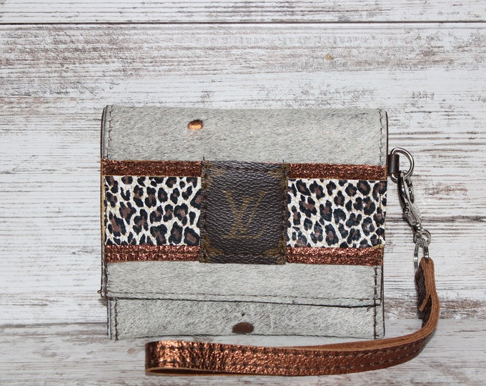 Card Holder Wristlet with Louis Vuitton Patch and Cheetah Trim Leather