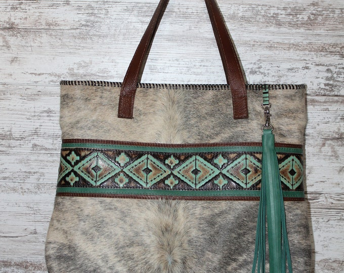 Cowhide Tote with Turquoise and Brown Leather
