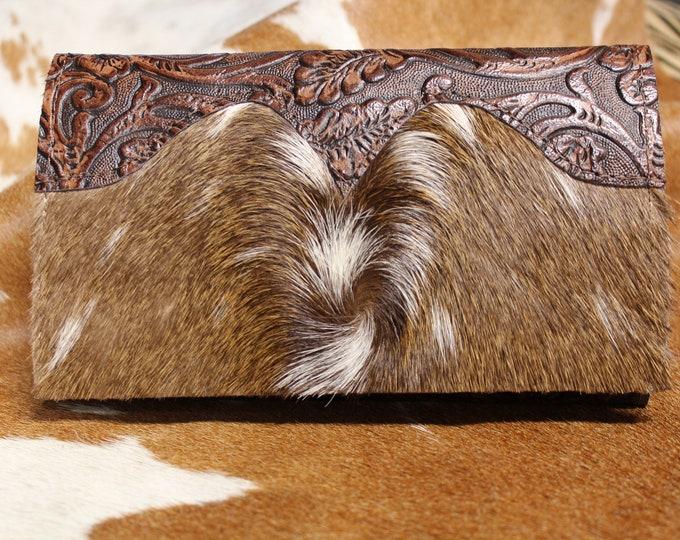 Axis Deer Hide with Western Floral Embossed Leather