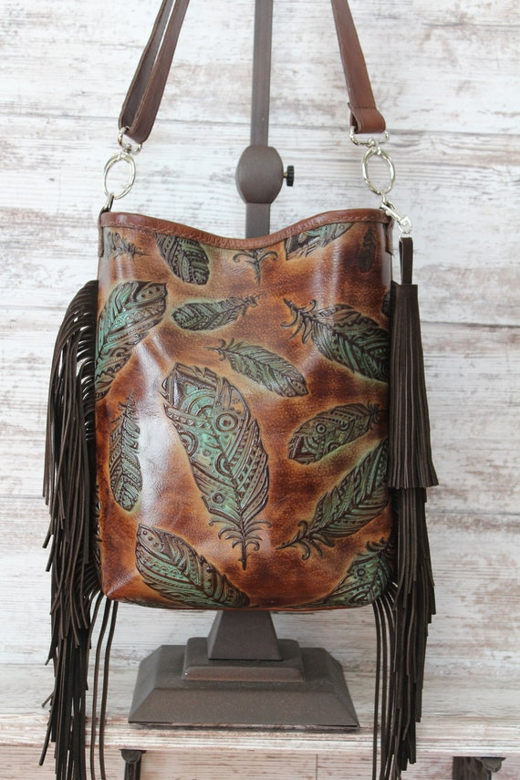 Feather Embossed Leather Crossbody Purse