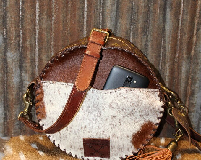 Canteen Bag called Scout made from Exotic Cowhide and Authentic Vintage Louis Vuitton Leather