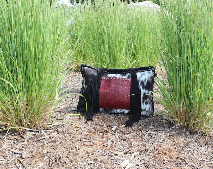 Cowhide Shoulder Bag with Western Floral Embossed Red Leather