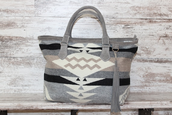 Pendleton Wool and Gray Suede Purse