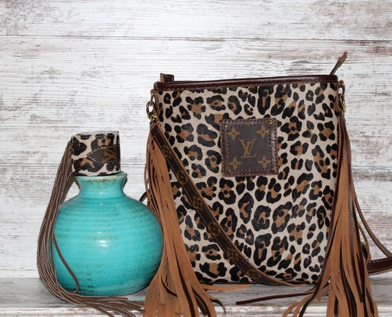 Cowhide Crossbody in Leopard Print Free matching bracelet with purchase of this bag